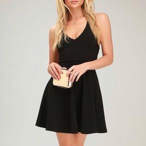Lulu's Katrina Strappy Black Skater Dress